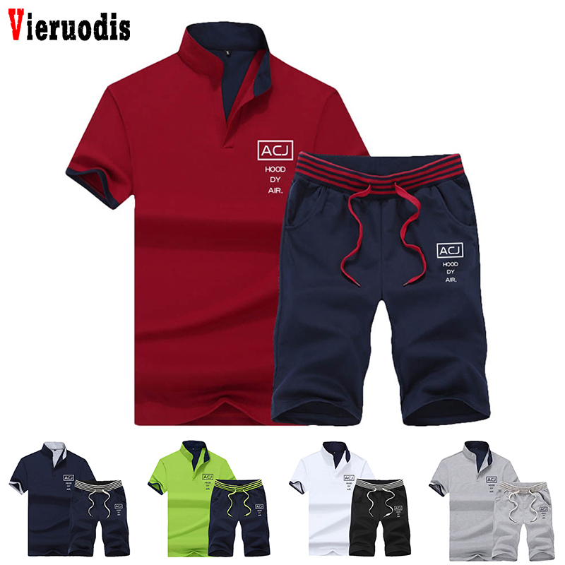 2019 Fashion Summer 2PC Top Short Set Mens Stand Collar 2 Pieces T-shirt Shorts Fitness Suits Tracksuit Brand Sportsuits Set Men