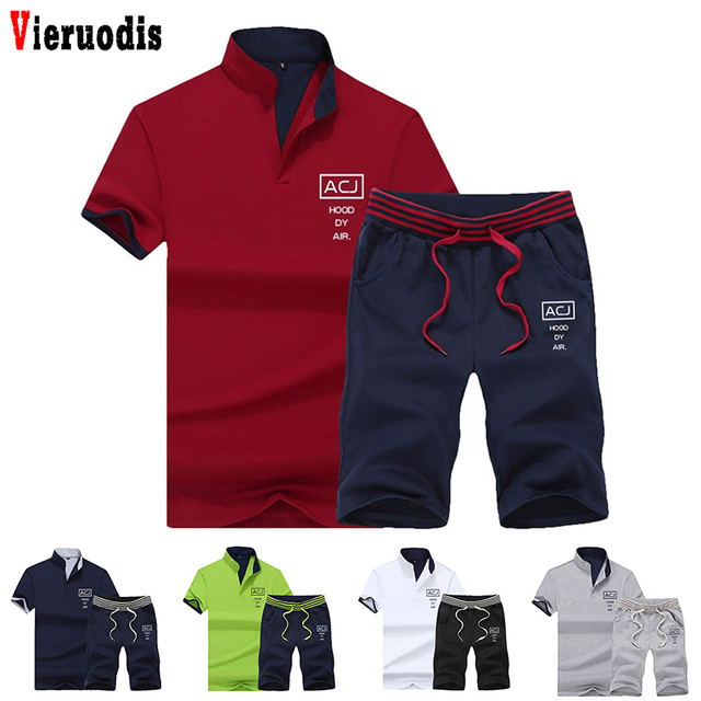 2019 Fashion Summer 2PC Top Short Set Mens Stand Collar 2 Pieces T-shirt Shorts Fitness Suits Tracksuit Brand Sportsuits Set Men
