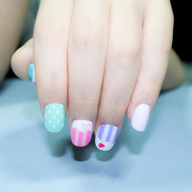 Online Shop 20 Pcs New Candy Kawaii Children Fake Nails Pre-glue ...