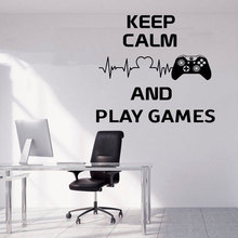 Keep Calm And Play Games Quotes Wall Sticker Game Controller Vinyl Home Decor Boys Room Playroom Decals Mural Transfer Film A180
