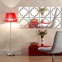 4PCS/1 SET DIY symmetrical flower sculpture 3D Silver Mirror Wall Sticker Self Adhesive Wall art decor Home Decor Removable