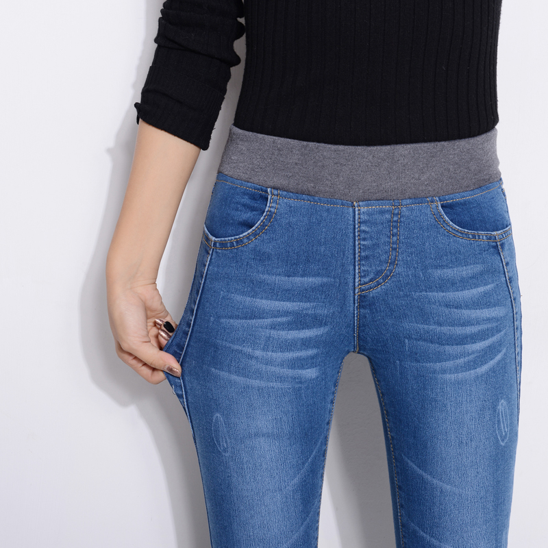 Espesamiento Y Mujeres Negro Terciopelo Pantalones azul Las Otoño Lápiz Elástica De Cintura Del Vaqueros Nuevo Más Estiramiento Invierno Slim q0dqBwTX