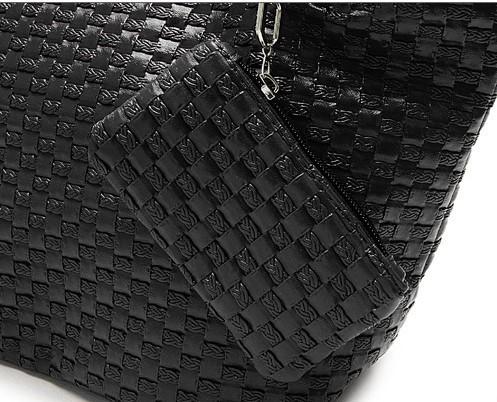 Casual Women Handbag and Purse Shoulder Bags Hobos Weave PU Leather Bag Female Bolas Tote Beige Black Plaited Bolsas Femininas