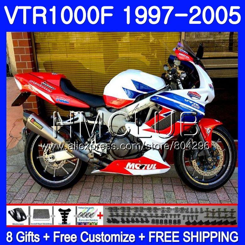 Corpo Per HONDA SuperHawk VTR1000F Rosso bianco 97 02 03 04 05 77HM14 VTR 1000 F 1000F VTR1000 F 1997 2002 2003 2004 2005 Carenatura