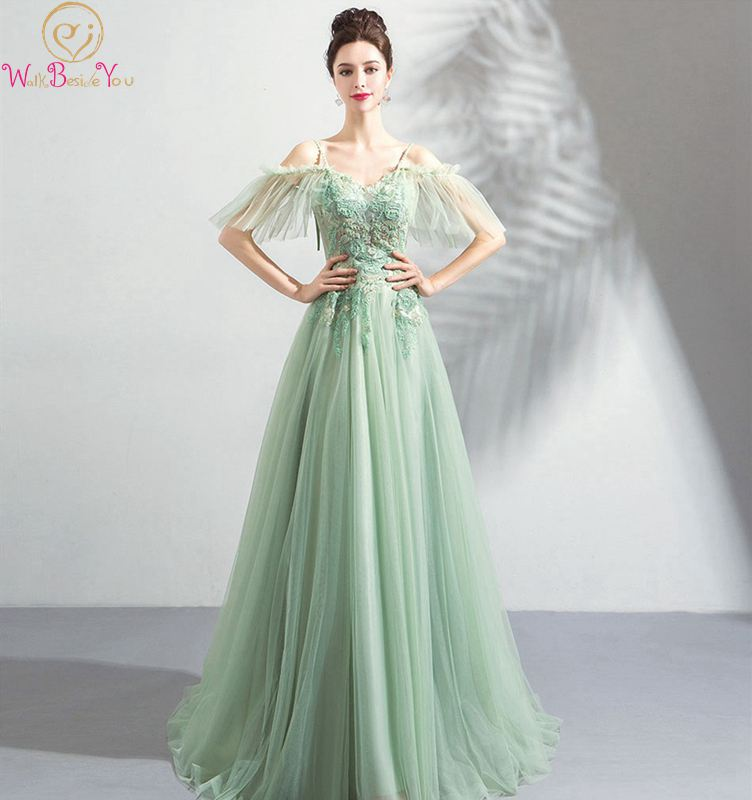 2019 New Prom Dress Sweetheart Neck Sweep Train Appliques Beading Green Spaghetti Strap Off Shoulder Lace