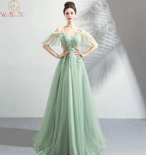 цена на 2019 New Prom Dress Sweetheart Neck Sweep Train Appliques Beading Green Spaghetti Strap Off Shoulder Lace-up Tulle Evening Dress