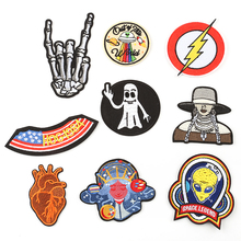 DOUBLEHEE The Aliens Skull Girl Patch Embroidered Iron On Patches Embroidery Design Motify DIY Coat Shoes Accessories skagen часы skagen skw6234 коллекция mesh