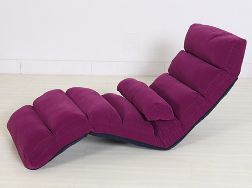 Floor Folding  Purple Upholstered Chaise Lounge Living Room Furniture Foldable Legless Nap Sofa Modern Lazy Day Bed Chair