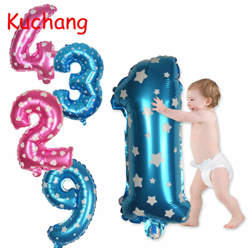 Saler 32inch Gold Foil Balloons Numbers Happy Birthday Party Decorations Kids Blue Pink Helium Balloons Wedding Decor Supplies
