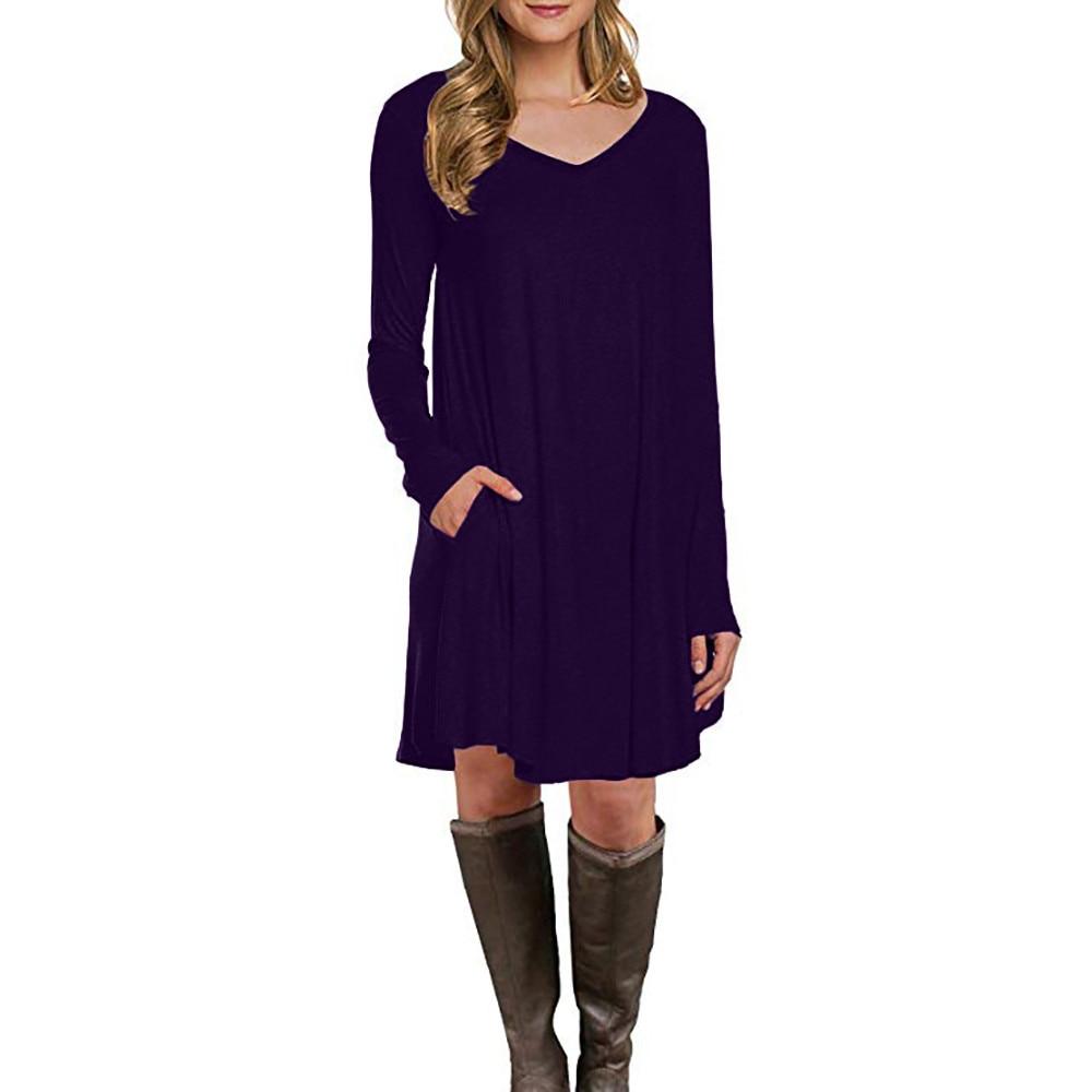 Feitong Autumn Plus Size T Shirt Dress Women Long Sleeve Dress 2018