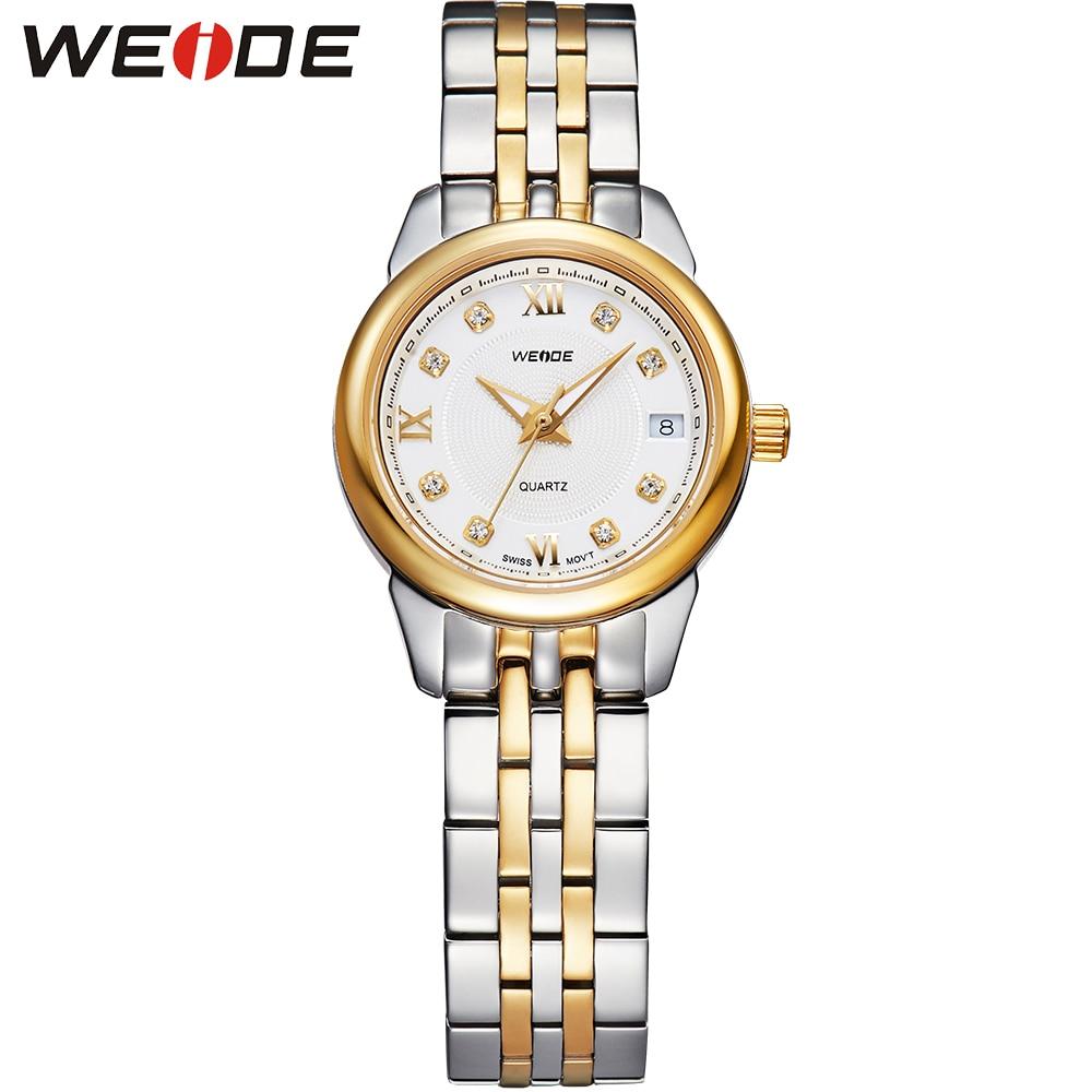 Top Sale WEIDE Gold font b Watch b font Women Brand Sapphire Window Quartz font b