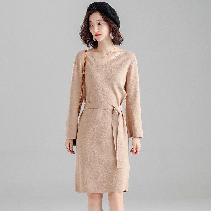 New Korean Brief Warm Women Sweater Dress Autumn Winter Long Sleeve Vintage Slim Female Elegant V-neck Lace Up Knitted Dresses
