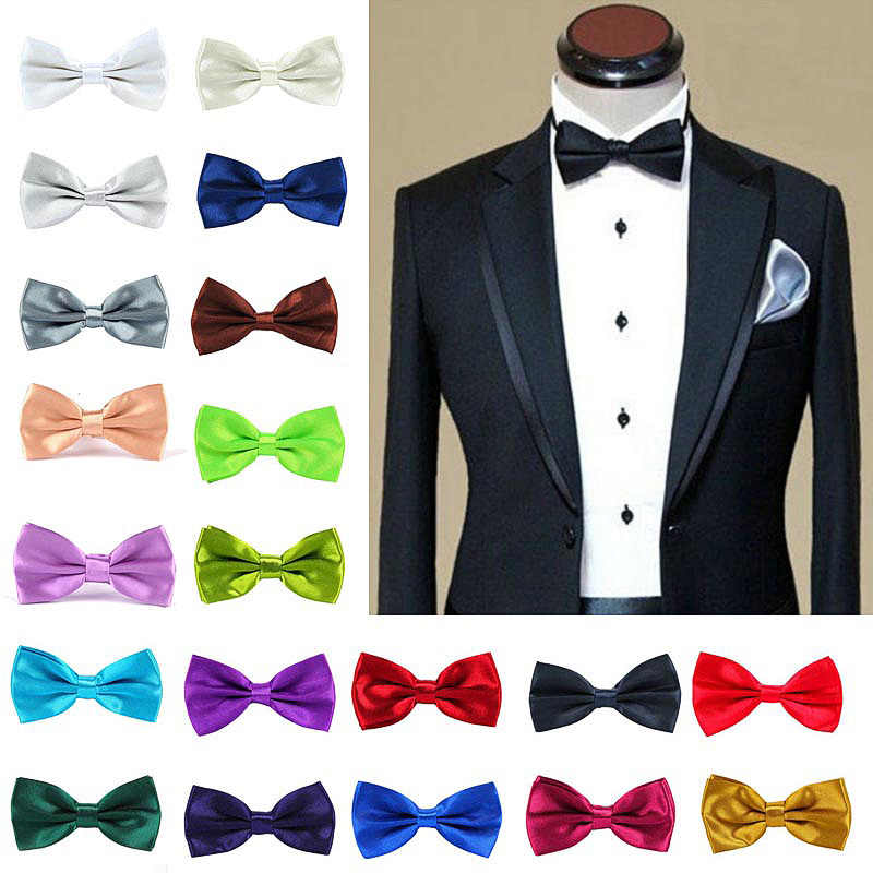 Mens Bowtie Wedding Handkerchief Formal Satin Classic Solid colour bowtie Fashion Square Pocket gift style Bow tie Neckwear New