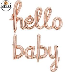 Image 1 - Große Größe 90x60cm Link Rose Gold Hallo Baby Folie Luftballons Baby Dusche 1st Geburtstag Party Dekoration Kugeln aufblasbare Luft Globos