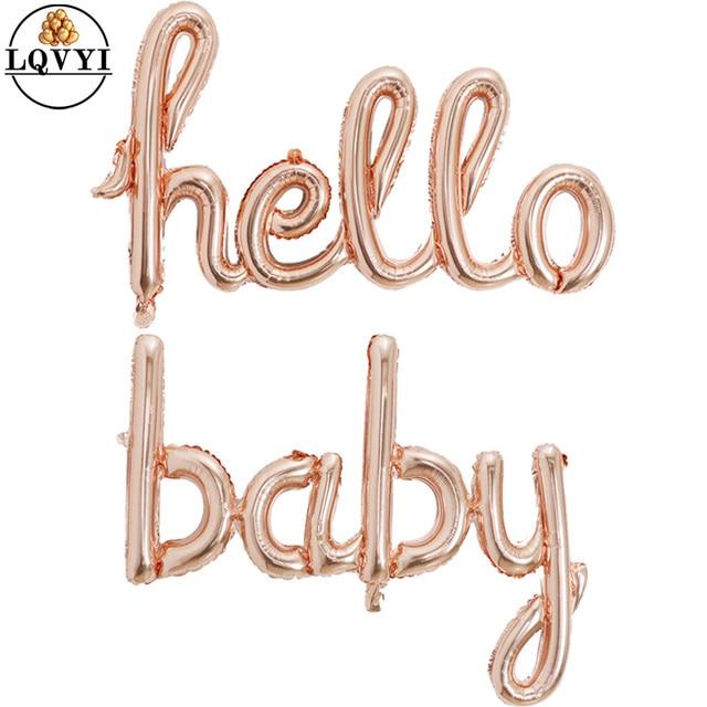 Große Größe 90x60cm Link Rose Gold Hallo Baby Folie Luftballons Baby Dusche 1st Geburtstag Party Dekoration Kugeln aufblasbare Luft Globos