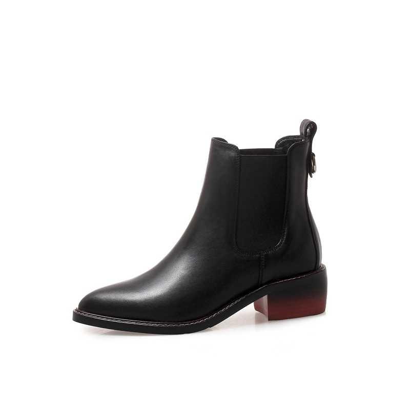 נשים עור אמיתי מגפי מבטא אירי מגולף קרסול מגפי אופנה צ 'לסי נמוך עקבים גבירותיי נעלי אביב 2018 חורף גבירותיי נעליים