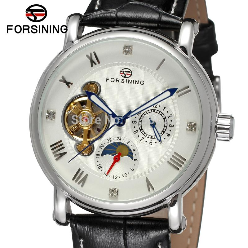 FSG800M3S3 Men  new Automatic self wind watch classic dress original wrist watch with moon phase gift box free shipping best original binger mans automatic mechanical wrist watch date display watch self wind steel with gold wheel watches new luxury