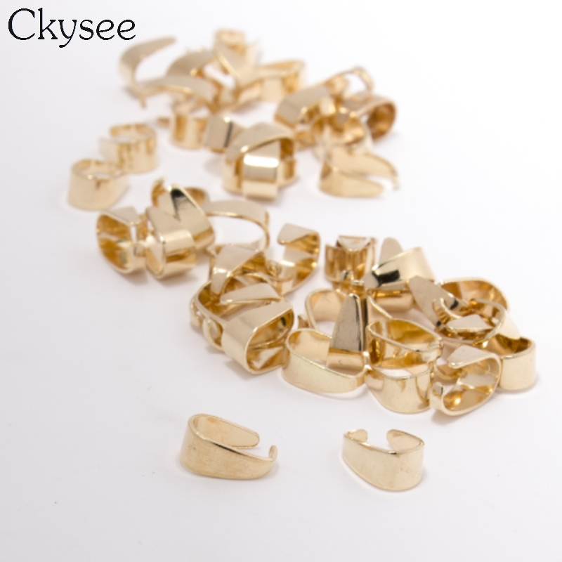 100pc/lot KC Gold Pendant Clips Clasps Pinch Clip Bail Beads Pendant Connectors 6*9mm For Jewelry Findings DIY Accessories