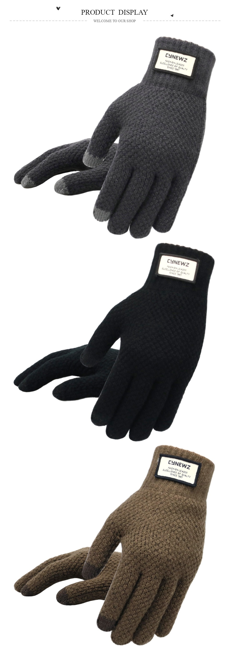 Warm and soft Knitted Touch Screen Gloves for Men Suitable during Winter and Autumn Made of Acrylic and Polyester Material 10