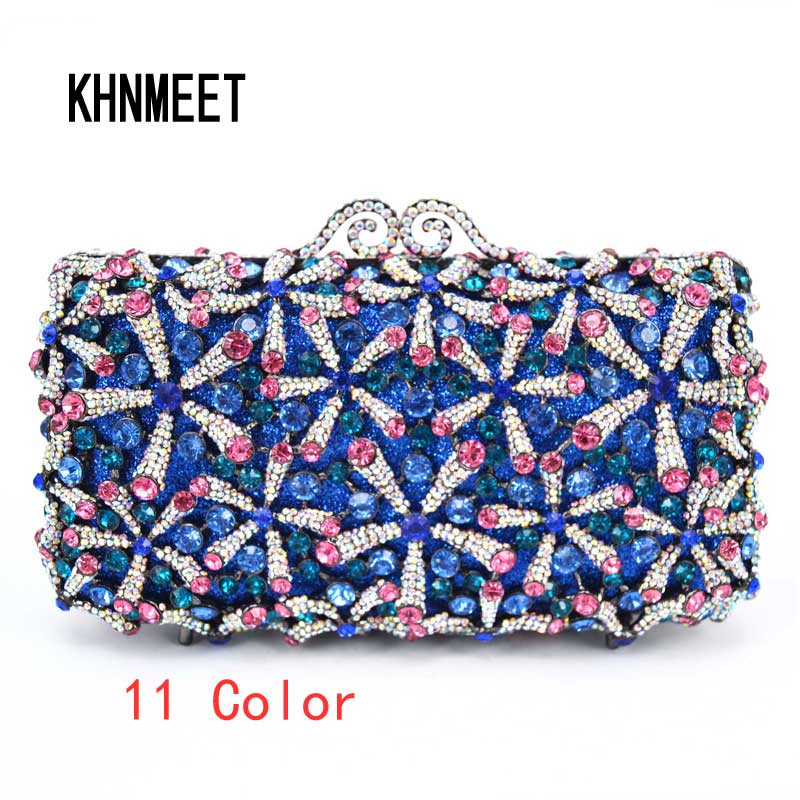 Kristal diamant zwart/roze/rood/goud/zilver Purse Evening Clutch Bag Bruids Diamanten Clutch portemonnees Bruiloft party Minaudiere SC762-in Koppelingen van Bagage & Tassen op  Groep 1