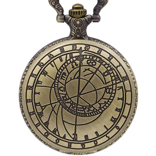 Vintage Bronze Steampunk Pocket Watch Roman Numerals Display Quartz Necklace Pocket & Fob Watches Chain Men Women Watch