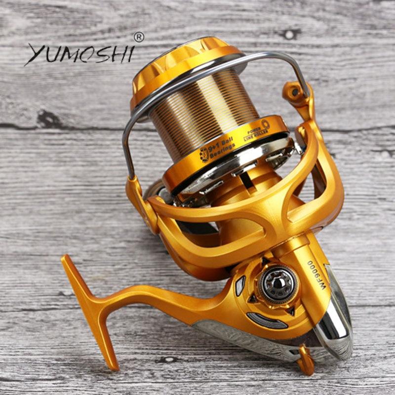 YUMOSHI 2017 New Superior Carbon Metal WF4000-9000 Spinning Fishing Reel 10 BB Series Boat Fishing Casting Fly Sea Cup Wheel