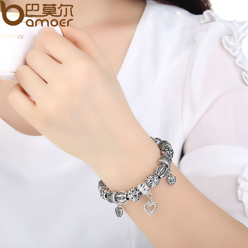 Bamoer Antique Silver Charm Bracelet Bangle 925 With Heart Pendant For Women Wedding Vintage Jewelry Pa1431 In Strand Bracelets From