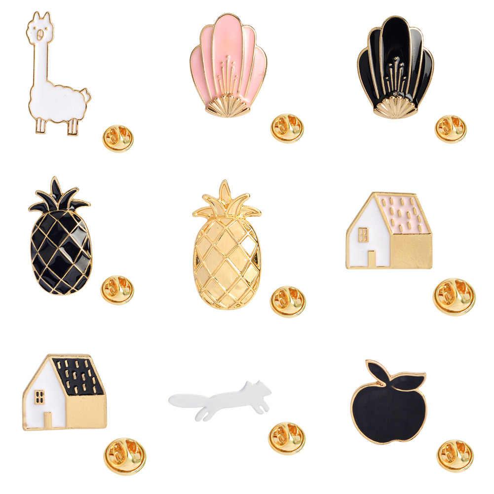 2018 Fashion Kartun Enamel Pin Buah Pine Apple Apple Bros Pin Lencana Cute Logam Hewan Kuda Bros Pin untuk Wanita