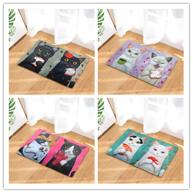 Cartoon Cat Animals Printed Toilet Carpet Absorbent Shower