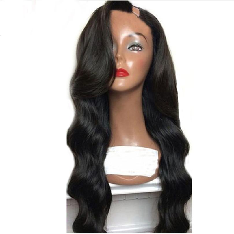 Simbeauty corps vague U partie perruque cheveux humains brésilien Remy cheveux perruques pour les femmes noires gauche 1x4 pouces couleur naturelle avec Clips peignes