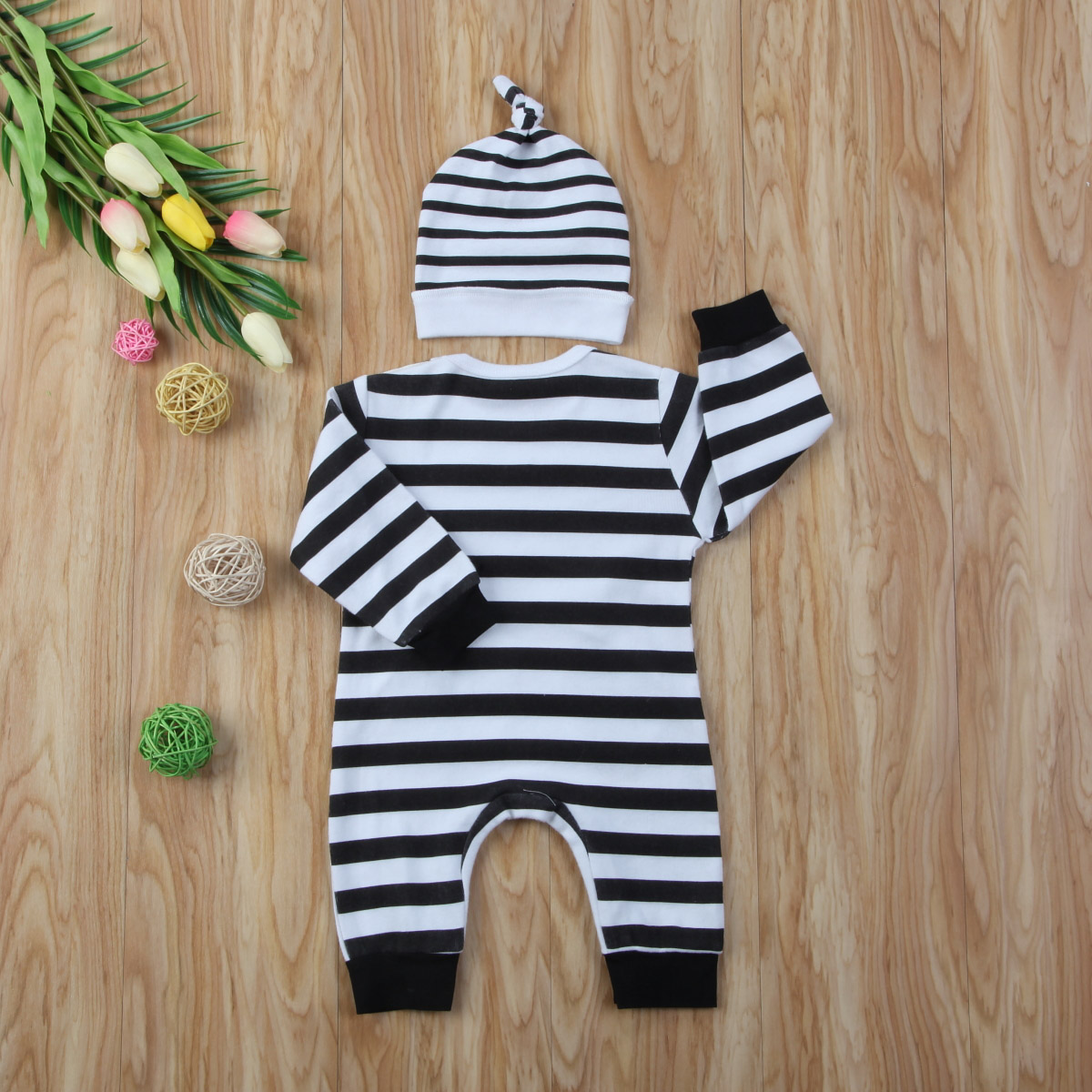 560b6ade604 2pcs Cute Infant Kids Baby Boys Girls Chicken Bear Cartoon Stripes Long  Sleeve Romper Hat Outfits Clothes Set-in Rompers from Mother   Kids on ...