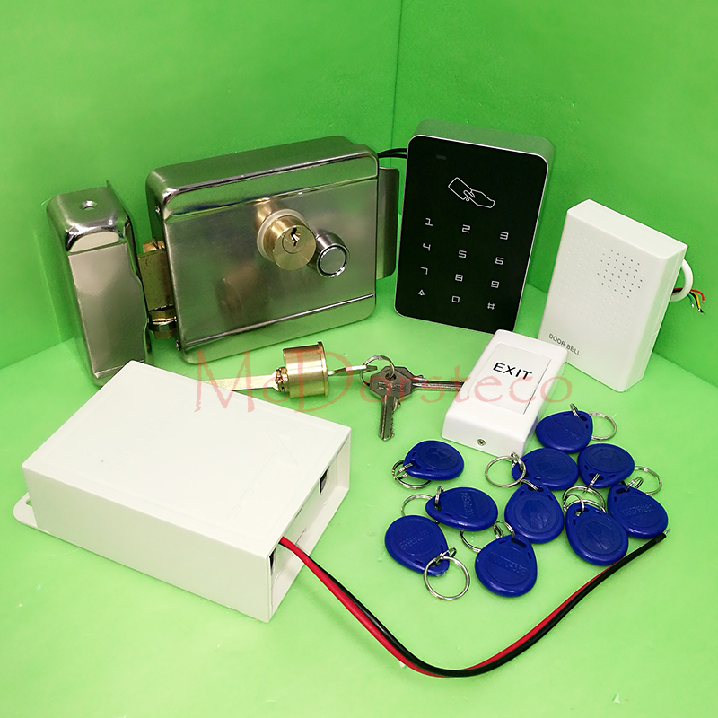 DIY Full 125khz rfid Card door Access Control Kit +Electric rim lock+ 12V3A Power Supply Press Keypad Door Access Control SystemDIY Full 125khz rfid Card door Access Control Kit +Electric rim lock+ 12V3A Power Supply Press Keypad Door Access Control System