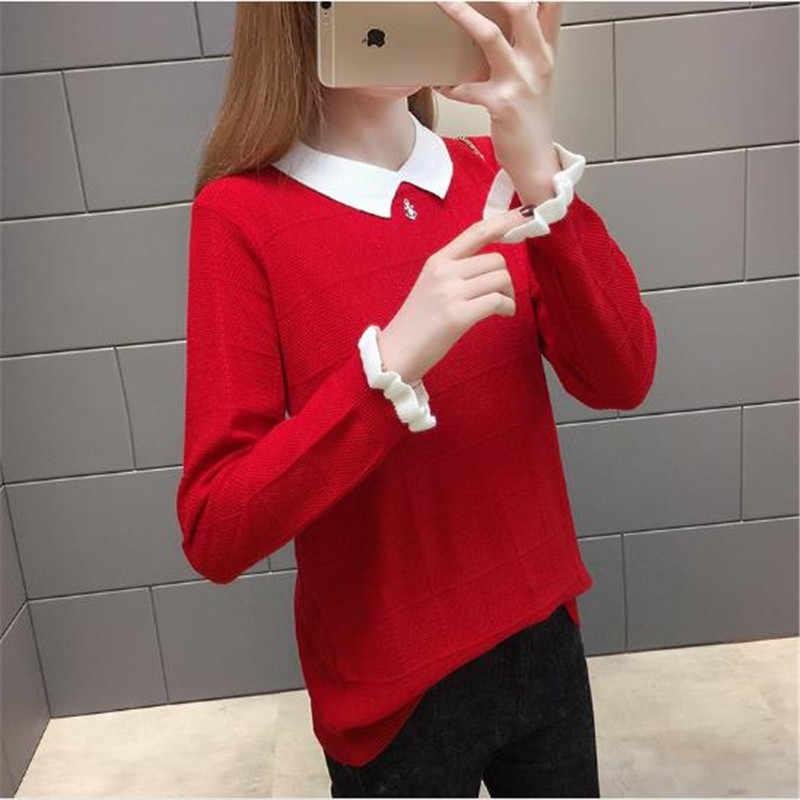 新しい女性プルオーバーセータービッグサイズの人形の襟ニットトップス秋ショート学生カジュアルジャケット長袖セーター女性 k0975