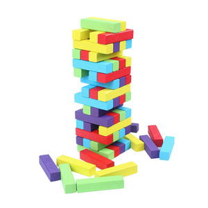Image 5 - MITOYS 60 PCS colorful Wooden blocks Tower Blocks Toy Domino Stacker Board Game Family/Party Funny Extract Building Blocks