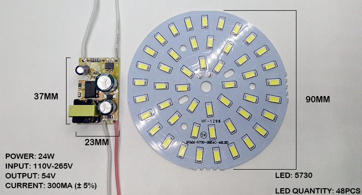 Купить с кэшбэком 3W 7W 12W 18W 24W 36W 5730 SMD Light Board Led Lamp Panel For Ceiling + AC 100-265V LED power supply driver