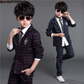 Boys Suits & Blazers Set 2017 Spring & Autumn Children Clothing Set Plaid Long Sleeve 2 pieces Set Single Breasted Turn Collar