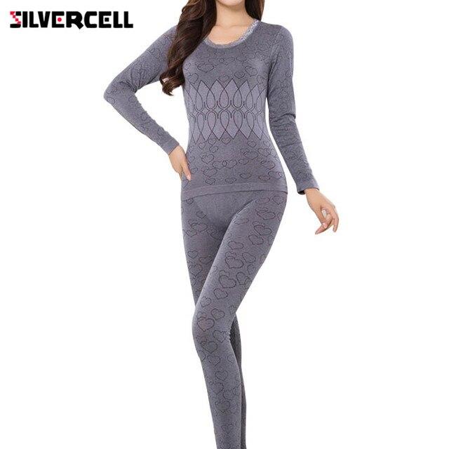 SILVERCELL חורף הלבשת נשים פיג 'מה סטי o-צוואר אקארד ארוך חליפת פיג' מה פרחוני bodycon נשים תרמית תחתונים רך חליפה