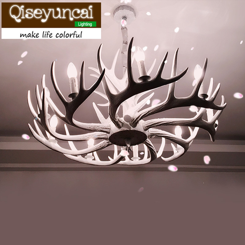 Qiseyuncai American Country Lifestyle Antlers White 6 head Pendant Lamps Living Room Villas Club Art Lighting