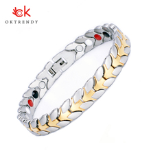 Oktrendy Magnetic Bracelets Therapy for Arthritis Energy Healthy Bangle Fashion Charm stainless steel bracelet