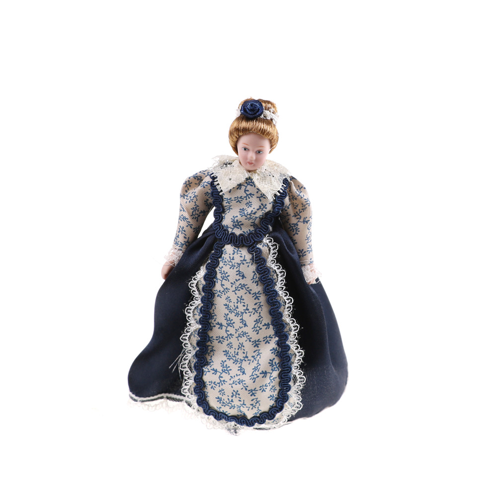 In Western-style  1:12 Dollhouse Miniature Porcelain Doll Victorian Lady& Maid Servant Dresses Clothes Toy For Kids Adult Gifts 3