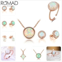 ROMAD Fire Opal necklace women gem stone pendant wedding bridal chokers girl mother birthday party Jewelry R5