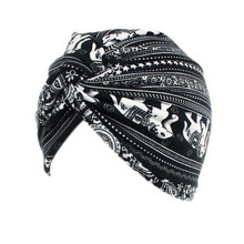 Muslim Women Cotton Floral Flower  Knitted Turban Hat Scarf Cancer Chemotherapy Chemo Beanies Cap Head Wrap Hair Accessories