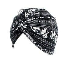 Phụ Nữ Hồi Giáo Cotton Họa Tiết Hoa Dệt Kim Băng Đô Cài Tóc Turban Gọng Mũ Khăn Ung Thư Hóa Trị Hóa Trị Beanies Nắp Đầu Bọc Phụ Kiện Tóc