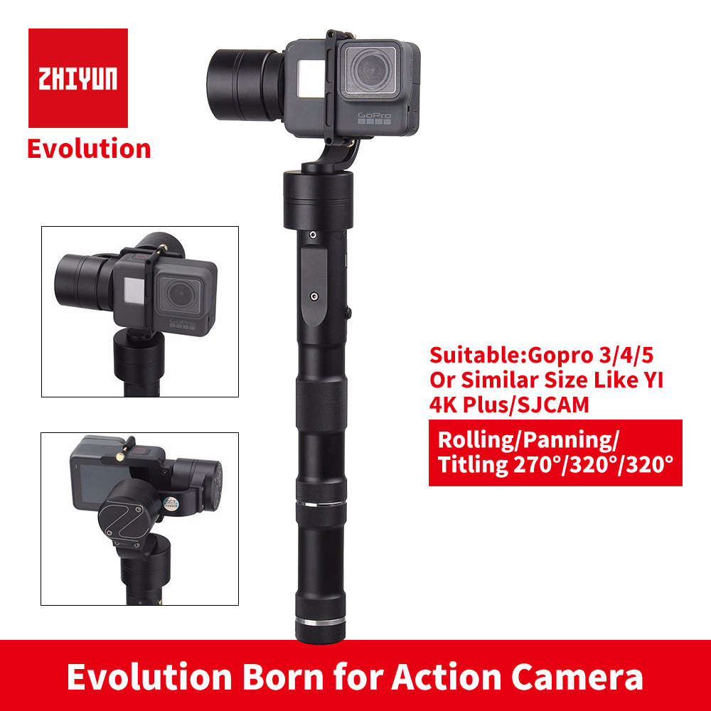 цена на ZHIYUN Z1 Evolution GOPRO 3-Axis Gimbal xiaoyi yi 4k+ action camera 3 Axis stabilizer Brushless steadicam for selfie