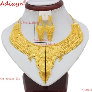 Image 2 - Adixyn Arab Necklace and Earrings Jewelry Set For Women Gold Color Elegant African/Ethiopian/Dubai Wedding/Party Gifts N100712