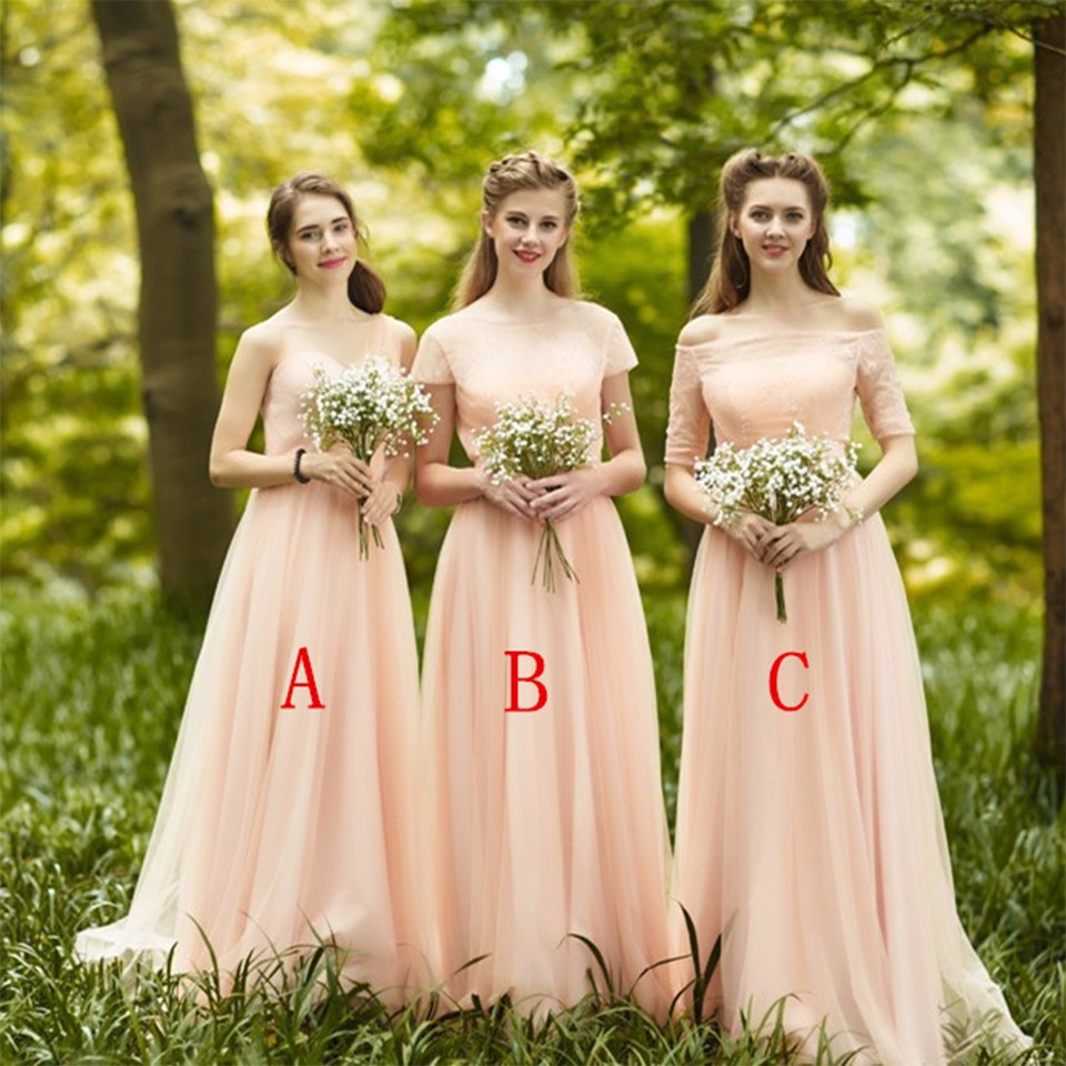 Romantic Long Blush Bridesmaid Dresses With Sleeves Pleat Tulle Lace ... 6b38175ba796