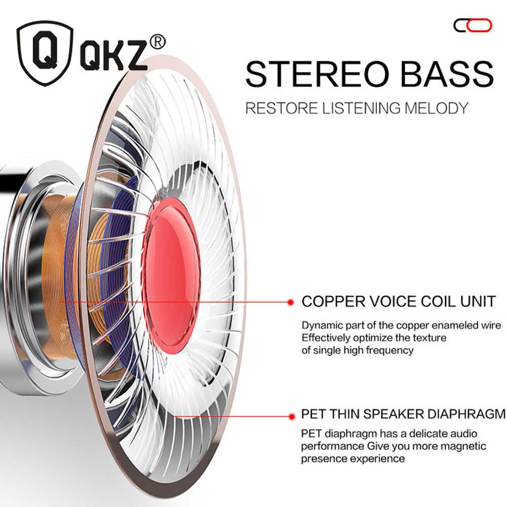 سماعات أذن QKZ EQ1 معدنية للهاتف سماعات أذن نصف داخل الأذن مع ميكروفون سماعة أذن لهاتف شاومي fone de ouvido