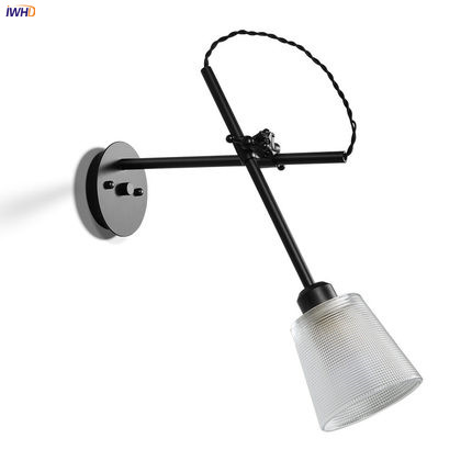 IWHD Adjustable Long Arm LED Wall Light Fixtures Home Indoor Lighting Glass Shade Loft Industrial Vintage Wall Lamp Beside ann demeulemeester мини юбка
