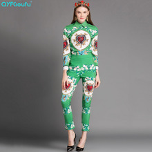QYFCIOUFU High Quality Vintage Women 2 Piece Set Floral Printed Long Sleeves Tops And Blouses Runway
