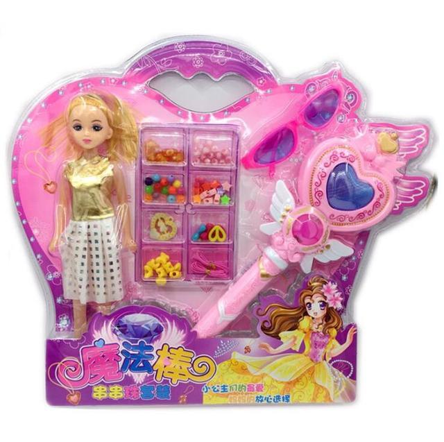 Новая девушка Игрушечные лошадки волшебная палочка с световой музыка палочка рисунок игрушки Симпатичные принцессы Кукла подарочной коробке внутри бисером для детей подарок